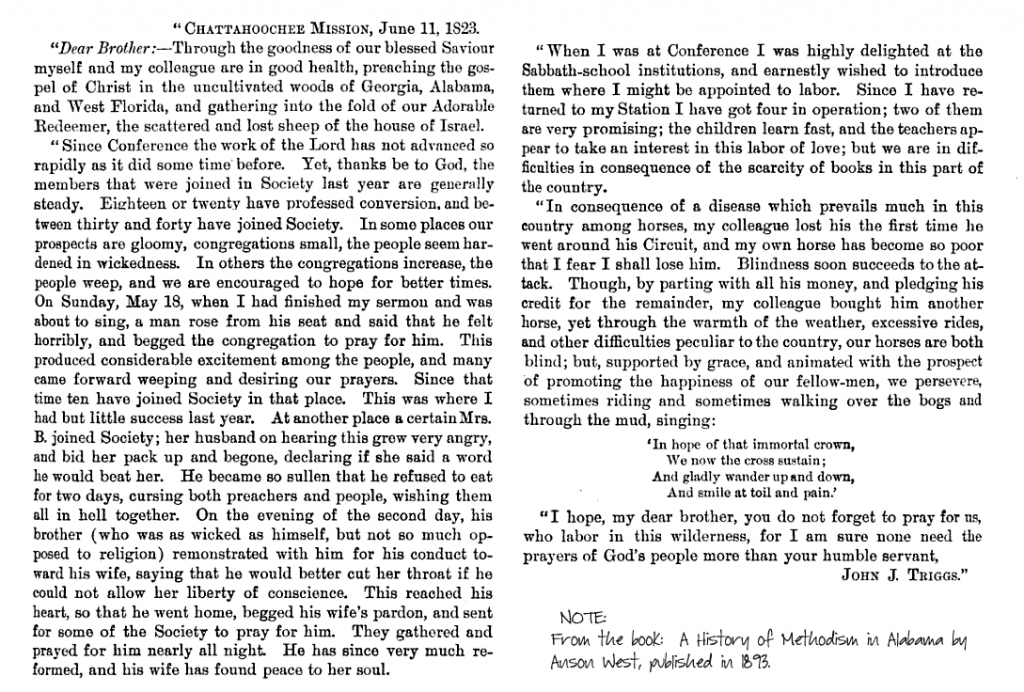 Rev John J. Triggs letter to Chattahoochee Mission