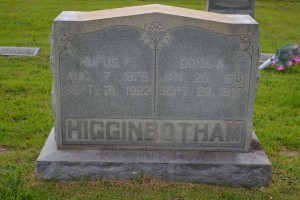 Rufus F. and Dona A. Higginbotham Headstone