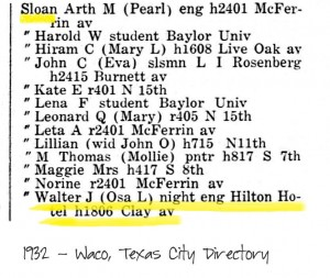 1932 Waco City Directory Walter and Osa Sloan