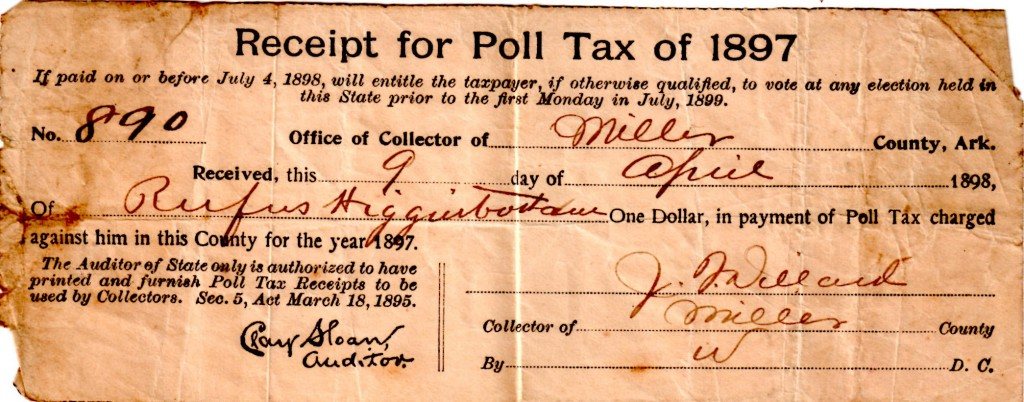 Poll Tax 1897 Rufus Higginbotham