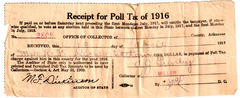 Poll Tax 1916 Dona Higginbotham