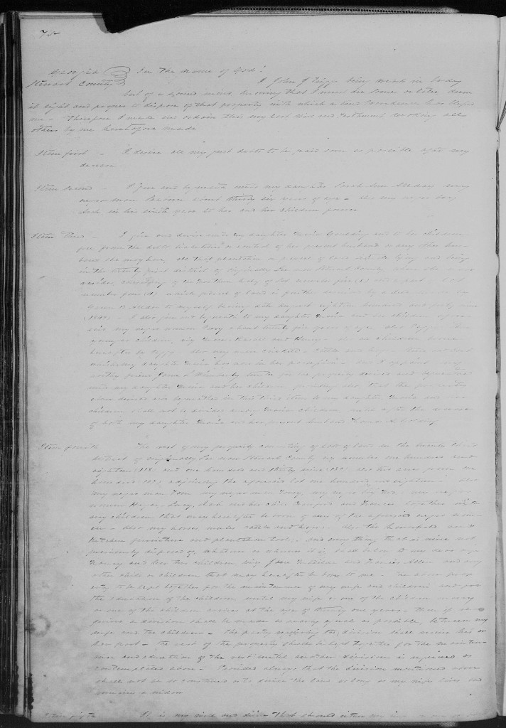 Georgia Probate Wills Book B page 75 Stewart Co. John J Triggs