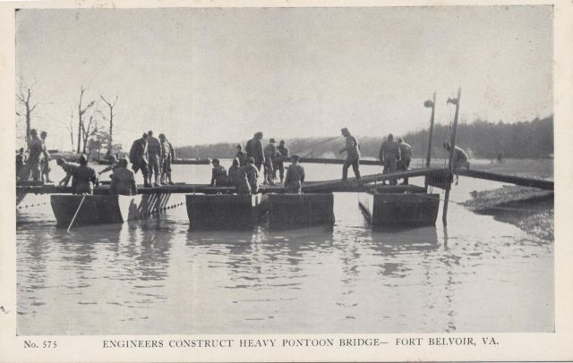 Engineers constructing a heavy bridge, Ft. Belvoir, VA