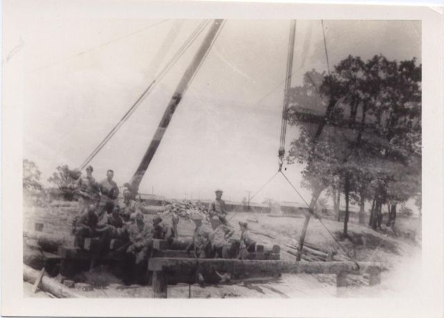 Constructing a bridge 146th Engineer Combat Battalion WWII