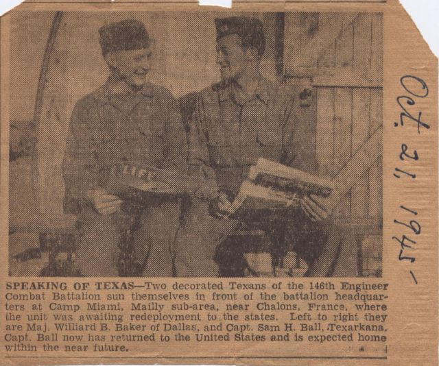 Maj Willard B Baker and Capt Sam H Ball Jr news article