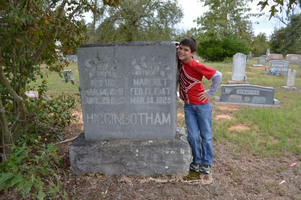 Michael with Rufus and Margaret Higginbotham's Headstone