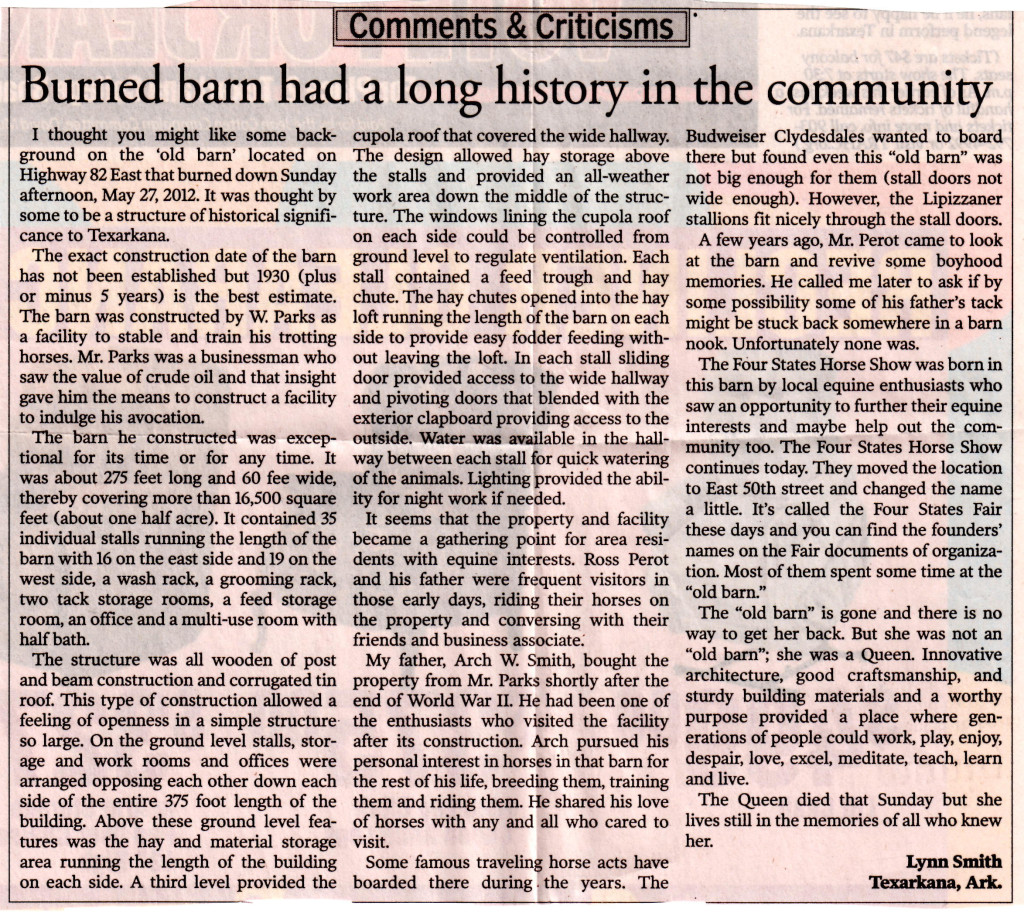 Newsarticle about old Parks Barn