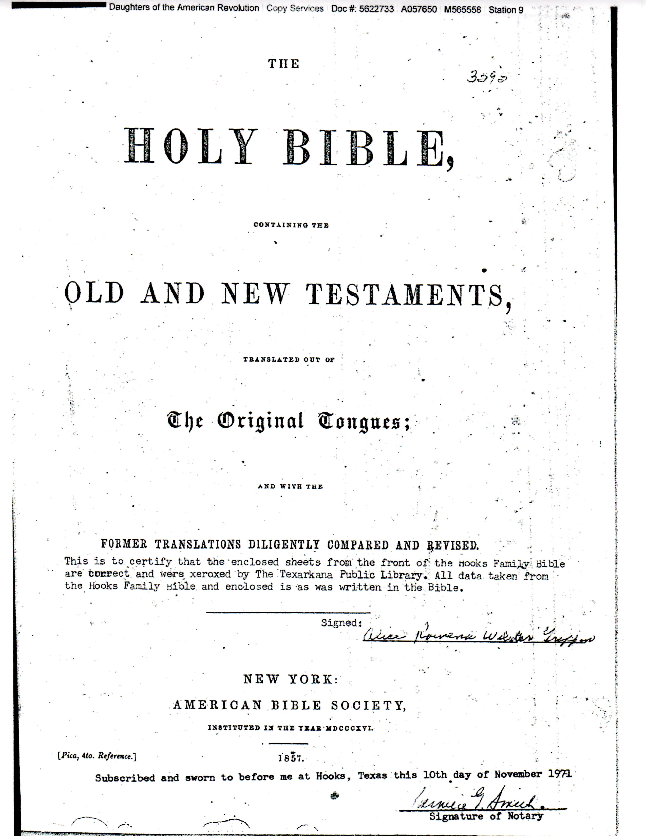 Bible of Colie E S Moore - Births