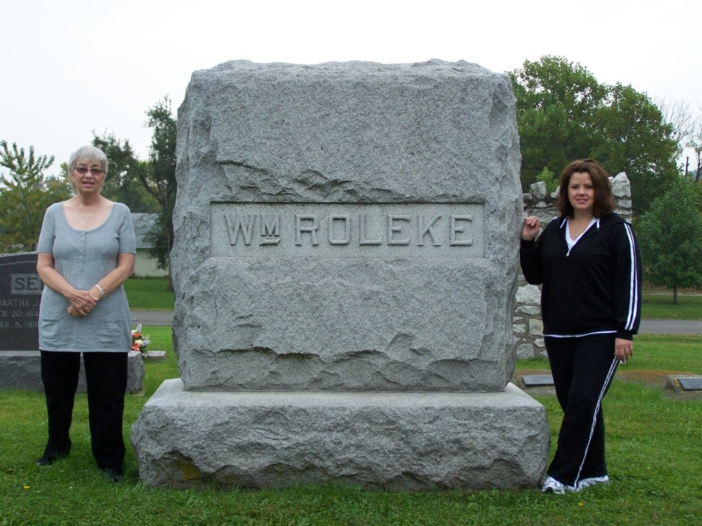 Mom and Susie at William Roleke Plot Marker
