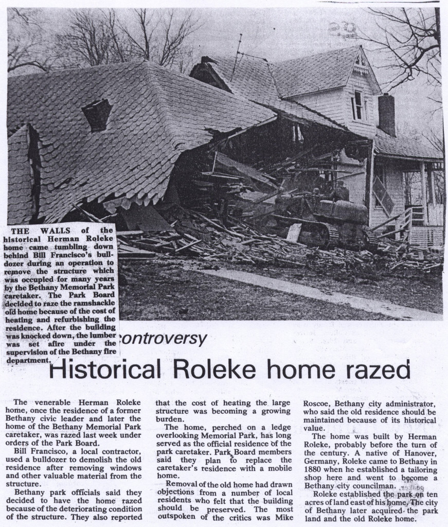Herman Roleke house razed