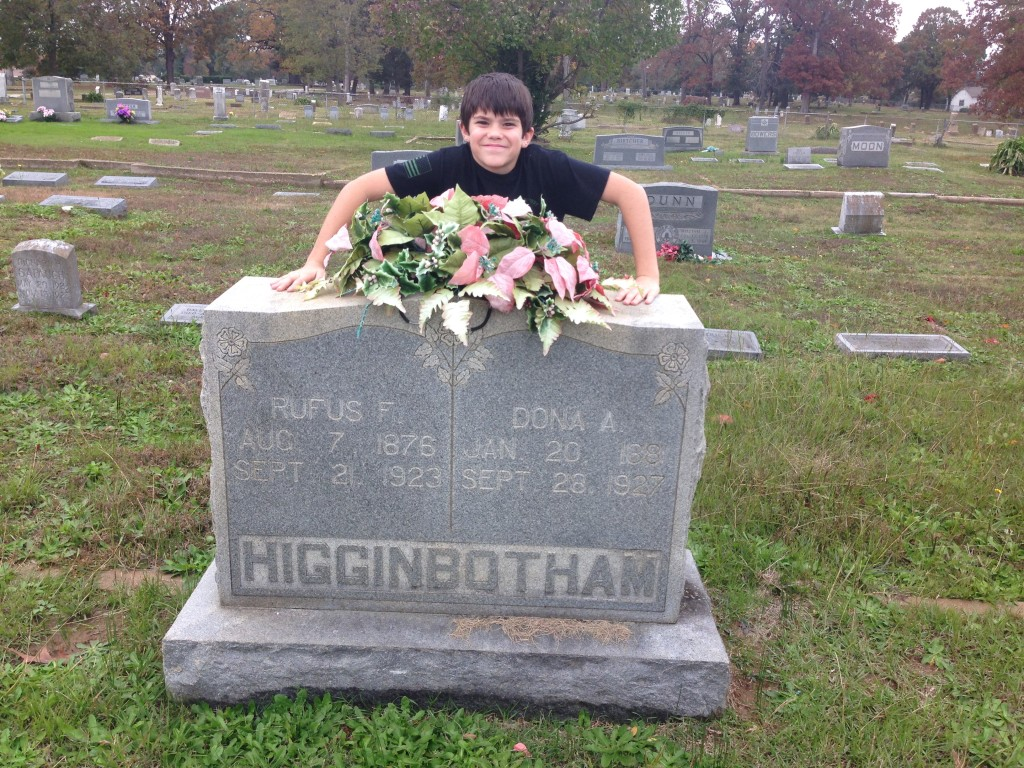 Michael at Headstone of Rufus F and Dona A Higginbotham