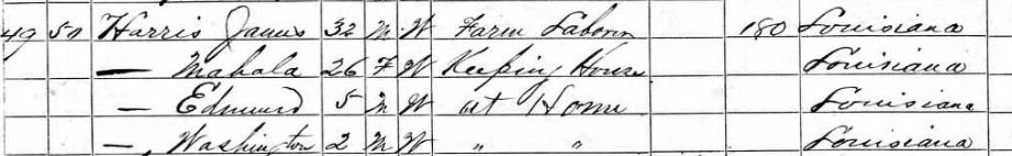 1870 Census Harris Family