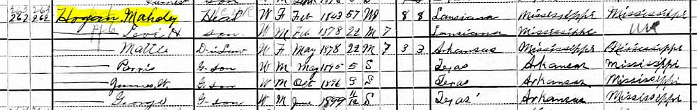 1900 Mahala Harris Hogan Census