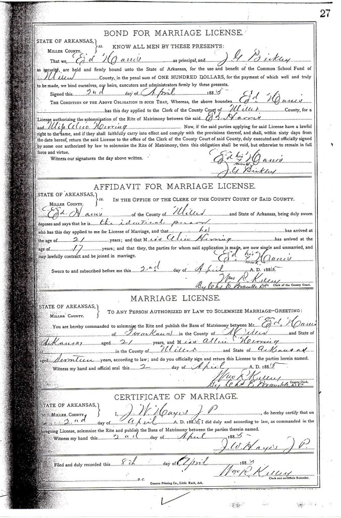 Ed and Alice Harris Marriage Record