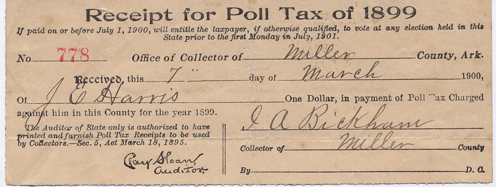 James Ed Harris Poll Tax Receipt 1899