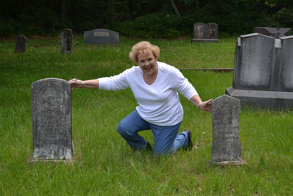 Nedra with John and Jemima Davis Headstone