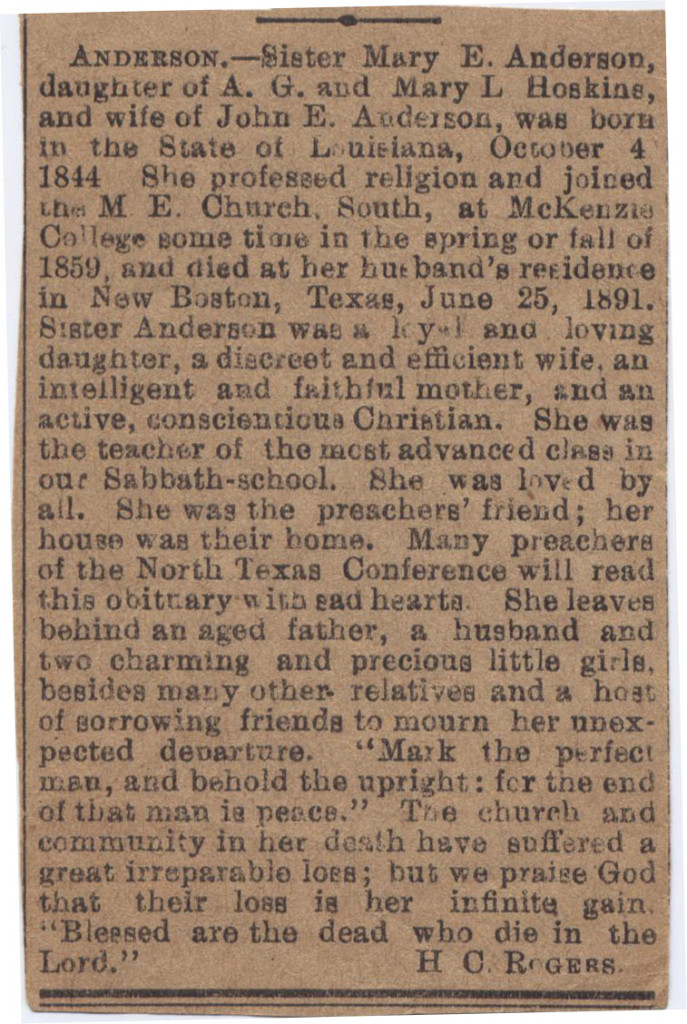 Mary Elizabeth Hoskins Anderson Obit