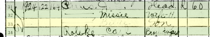 1930 Census, Amarillo, Texas.  JT, Missie and Bill Parks, with Karl Roleke.