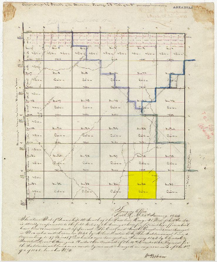 Land Patent Map 1843 Miller Co Sec