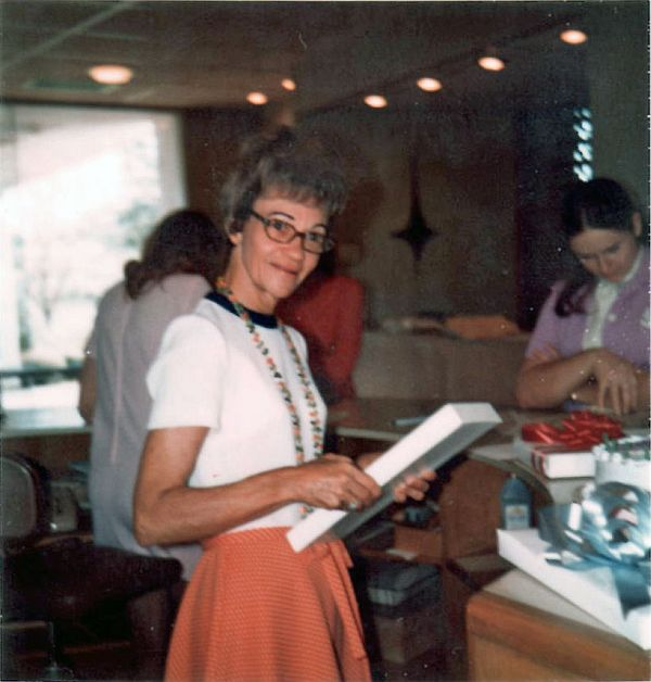 Nonnie at Collom and Carney, May 1973.