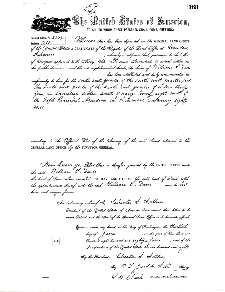 William L Davis Land Patent