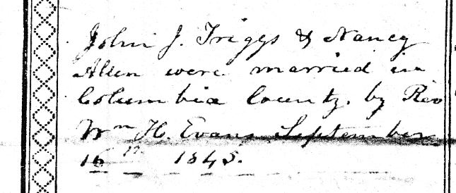 John and Nancy Triggs Marriage Record in Triggs Bible