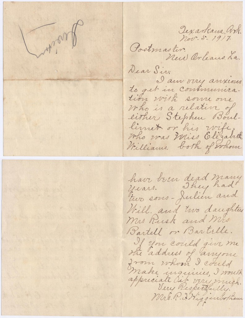 First Letter from Dona Higginbotham to New Orleans Post Office looking for Boullemet relatives.
