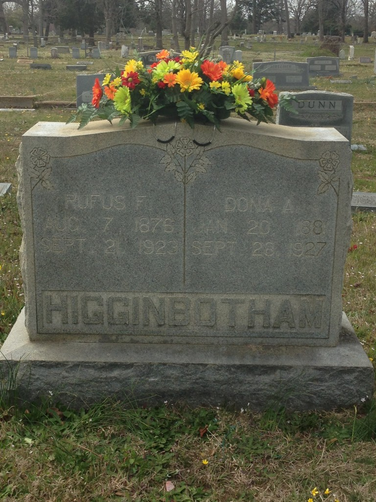 Rufus and Dona Higginbotham Headstone