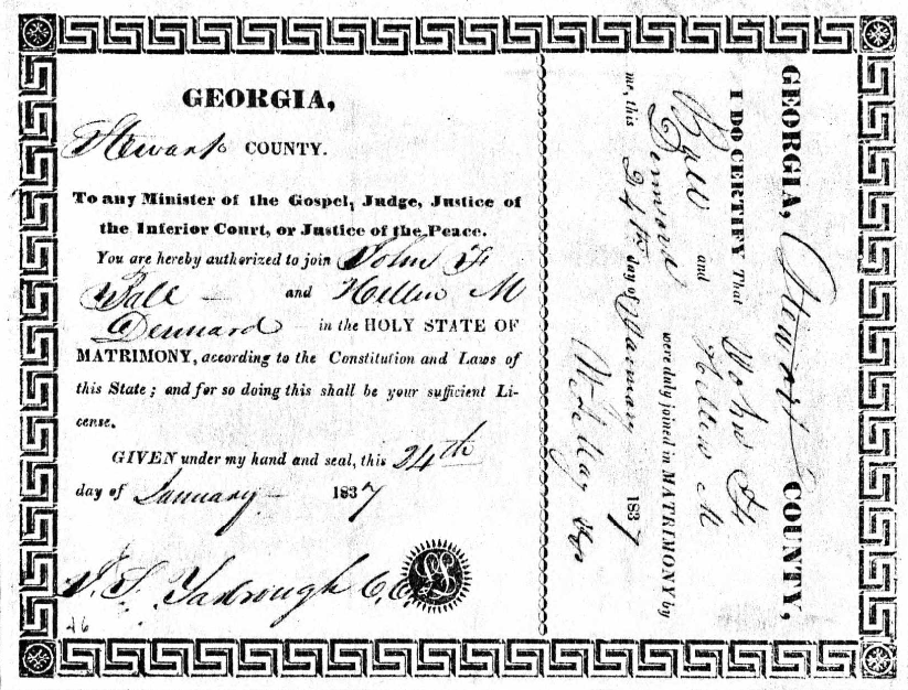 John F Ball and Hellen M Dennard Marriage Record