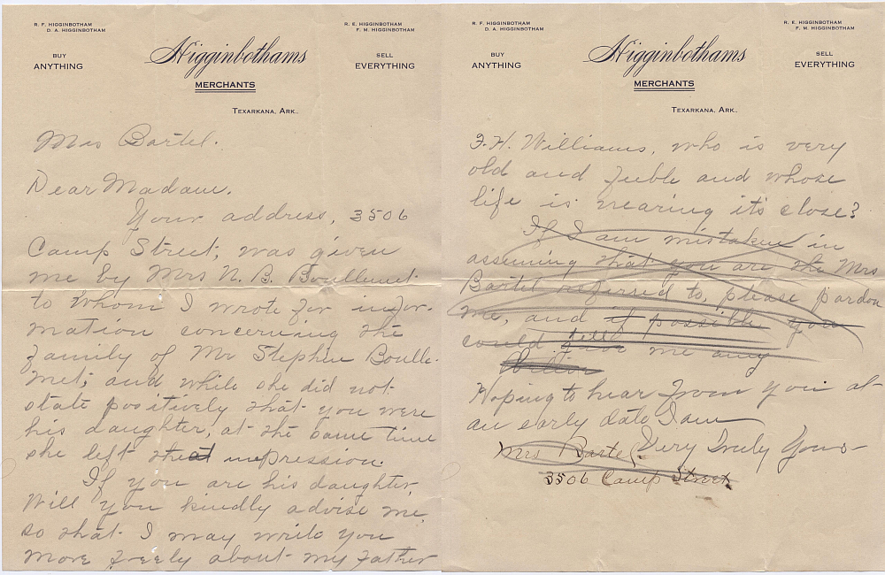 Letter 04 from Dona Higginbotham to Mrs. Bartel