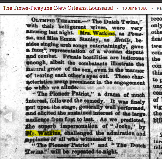 Mr and Mrs Watkins - Olympic Theater 10 Jun 1866