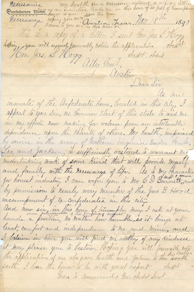 Letter to Gov Hogg from FHW Nov 18 1890