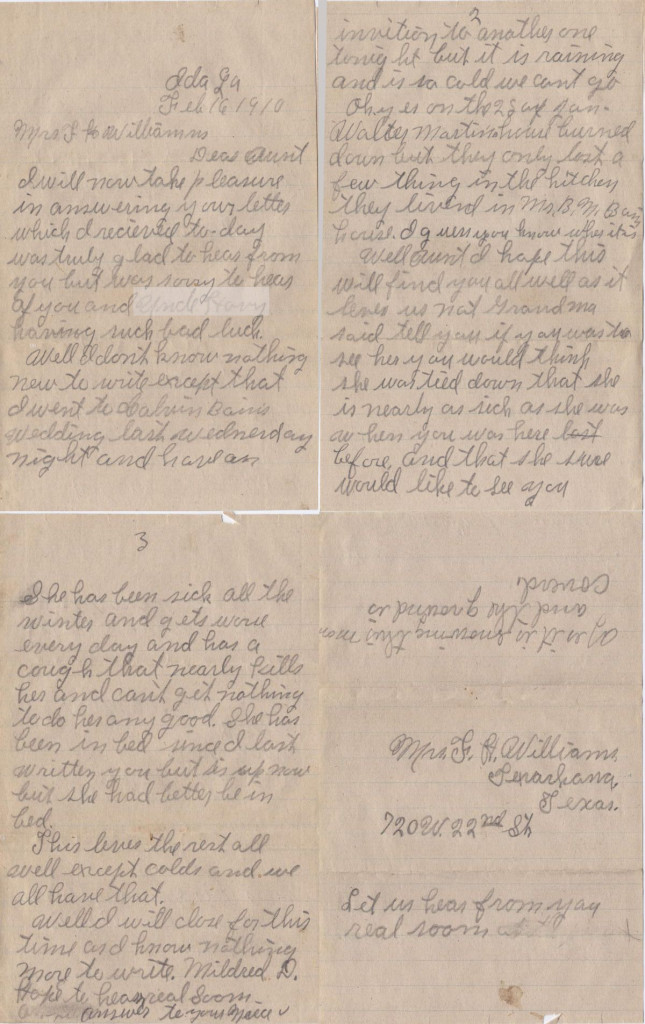 Letter to Mildred dated 16 Feb 1910