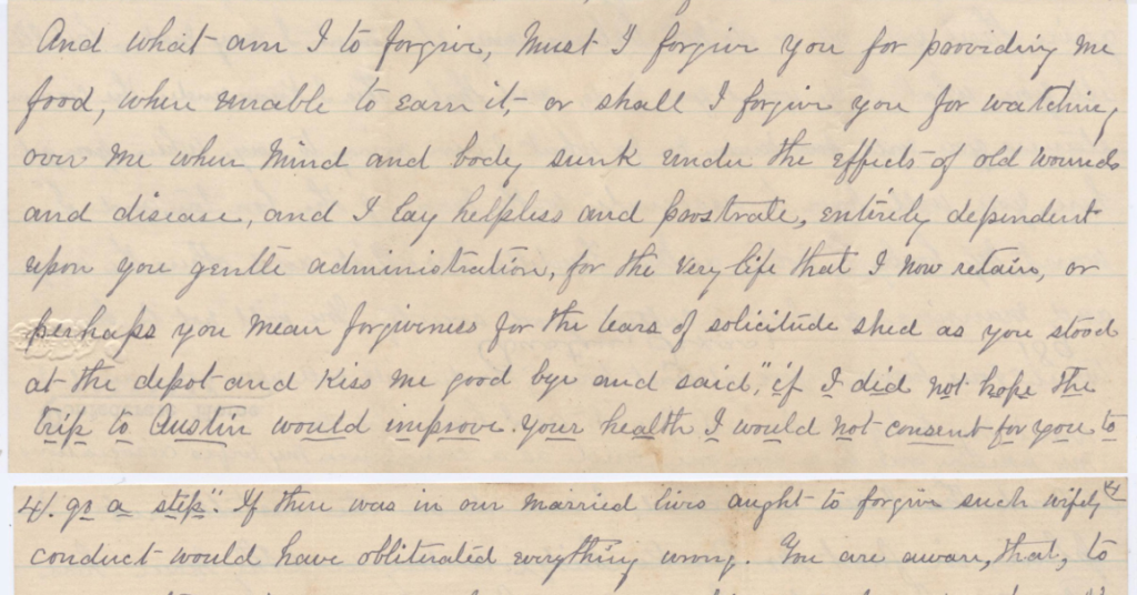 Letter from FH Williams, dated 27 Oct 1890 from Confederate Home in Austin, Texas. Addressed to his dear wife.
