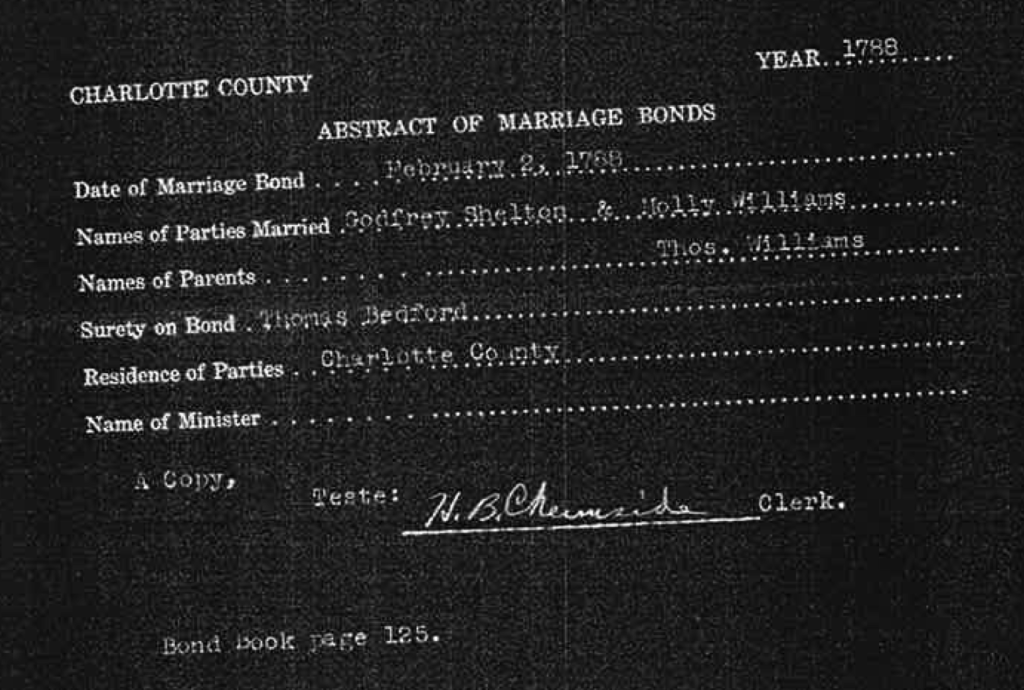 Godfrey Shelton and Molly Williams Marriage Record