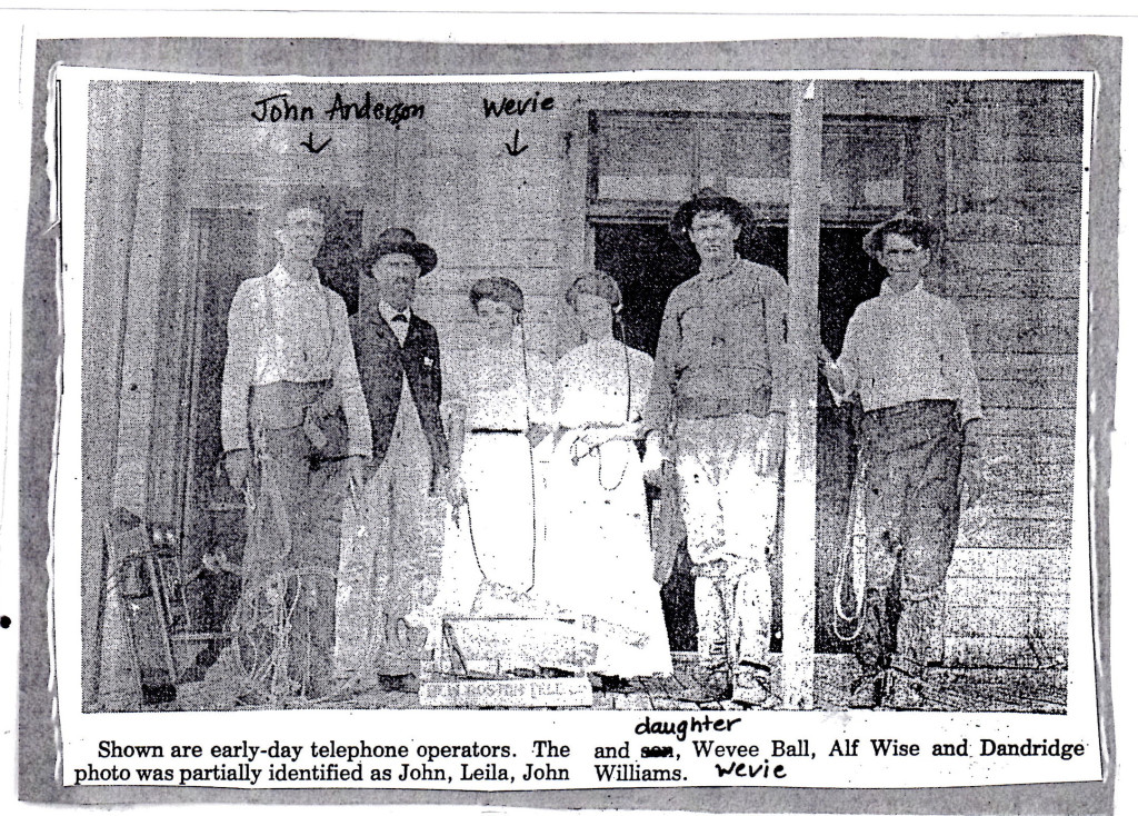 John Anderson and Wevie Anderson Telephone Operators