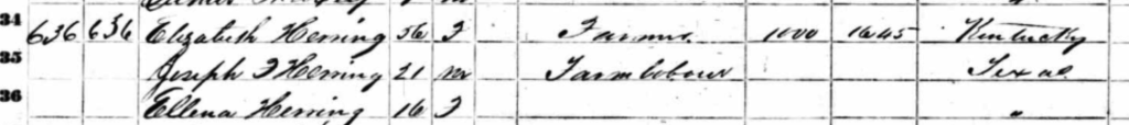 Elizabeth Herring 1860 Census