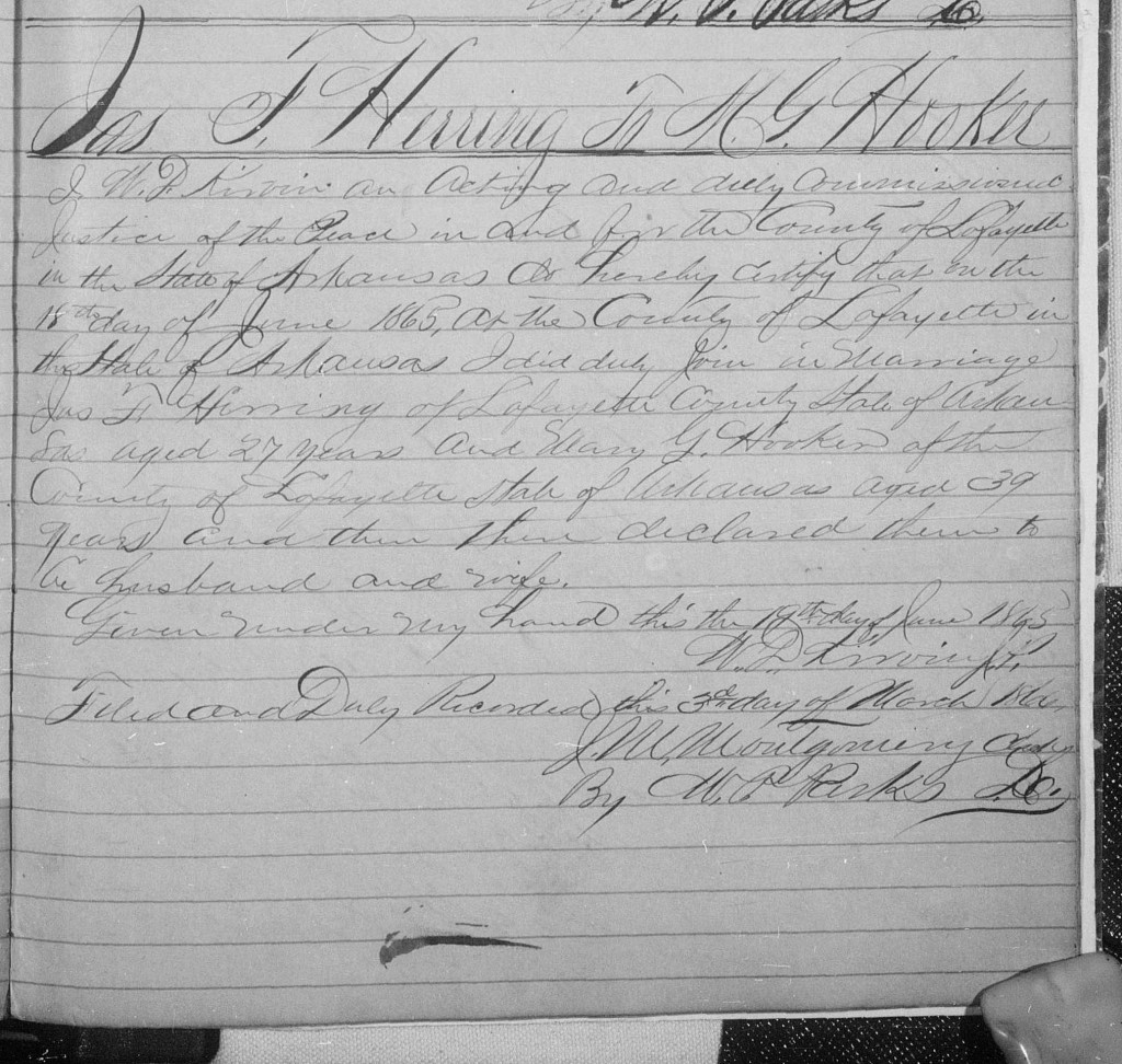 JF Herring and MG Hooker Marriage Record