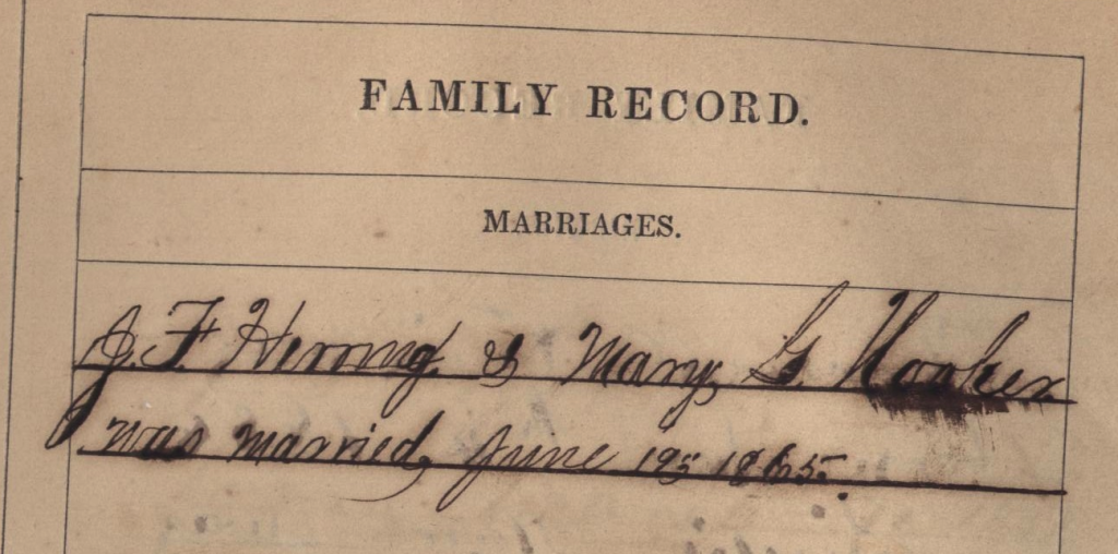 JF Herring marriage to Mary G Hooker